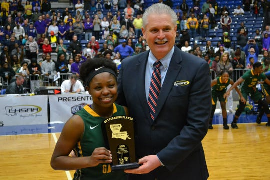 """Captain Shreve's Aaliyah Stevenson was named the Most Outstanding Player. The Gators captured the 5A state title with a 66-57 win over Denham Springs at the 2019 Allstate Sugar Bowl/LHSAA """"Marsh Madness"""" Tournament Saturday at the Rapides Parish Coliseum in Alexandria."""