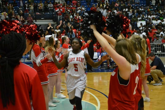 """North Caddo's Jadah Martin (5) is introduced prior to the start of the 2A championship game at the 2019 Allstate Sugar Bowl/LHSAA """"Marsh Madness"""" Tournament. Mansfield defeated North Caddo 42-34 Saturday at the Rapides Parish Coliseum in Alexandria."""