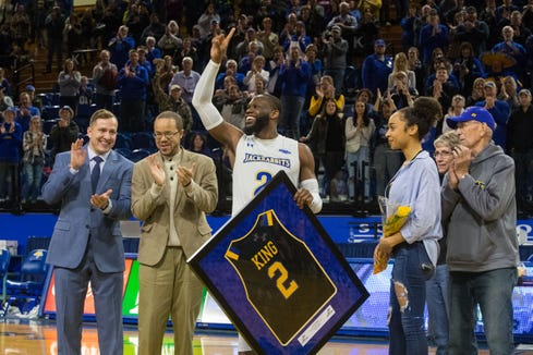 SDSU's Tevin King (2) reacts to his last time playing in Frost Arena, Saturday, March 2, 2019 in Brookings, S.D.