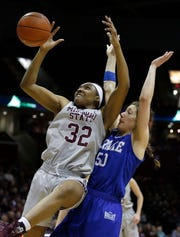 The Missouri State Lady Bears' Jasmine Franklin fights for control of the ball against the Drake Bulldogs at JQH Arena in Springfield on March 03, 2019.