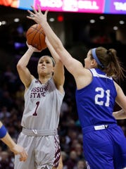 The Missouri State Lady Bears' Danielle Gitzen shoots against the Drake Bulldogs at JQH Arena in Springfield on March 3, 2019.