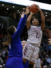 The Missouri State Lady Bears' Brice Calip led her team against the Drake Bulldogs at JQH Arena in Springfield on March 3, 2019.