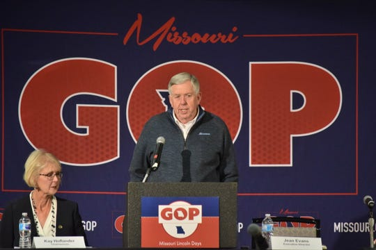 Missouri Gov. Mike Parson speaks at the Missouri Republican Party's Lincoln Days Saturday, March 2, 2019 in Maryland Heights, Mo. Parson emphasized his priorities of workforce development and improving infrastructure in multiple speeches to party faithful.