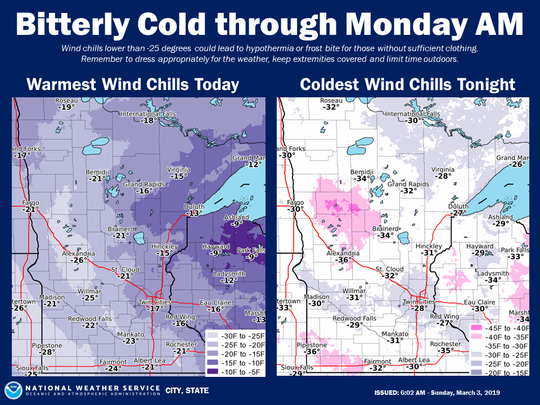 Minnesota is expected to experience deep wind chills Sunday night through Monday morning.