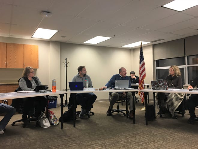 Superintendent Jeff Schwiebert talks updates Sartell-St. Stephen school board about budget cut timelines at the Feb. 25 board meeting.