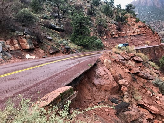 A rockslide forced the closure of state Route 9 inside Zion National Park on Saturday, March 2, 2019.