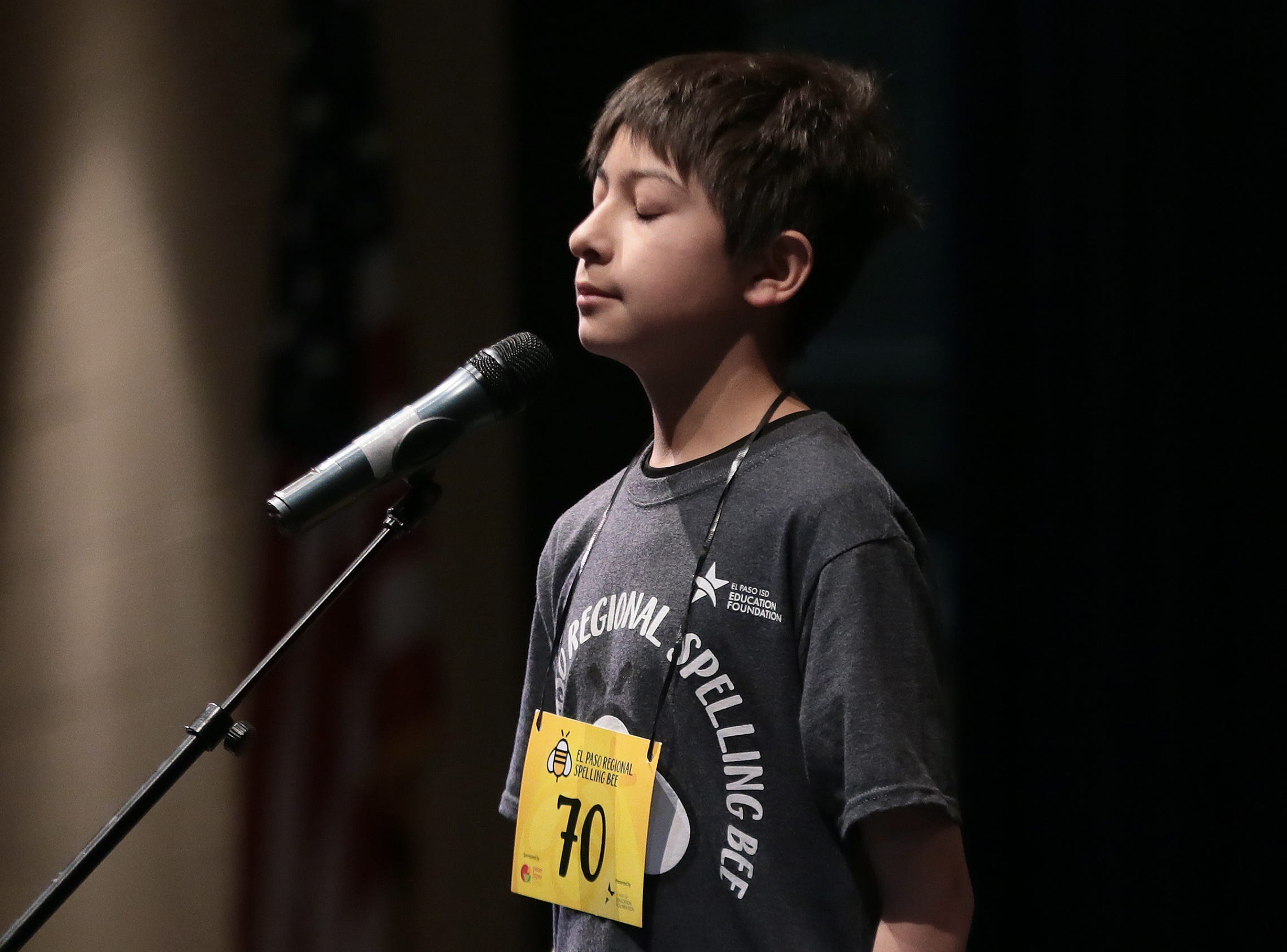 Ian Austin from Edgemere Elementary School reacts after spelling his word incorrectly Saturday in the 2019 El Paso Regional Spelling Bee. Austin would finish in third place.
