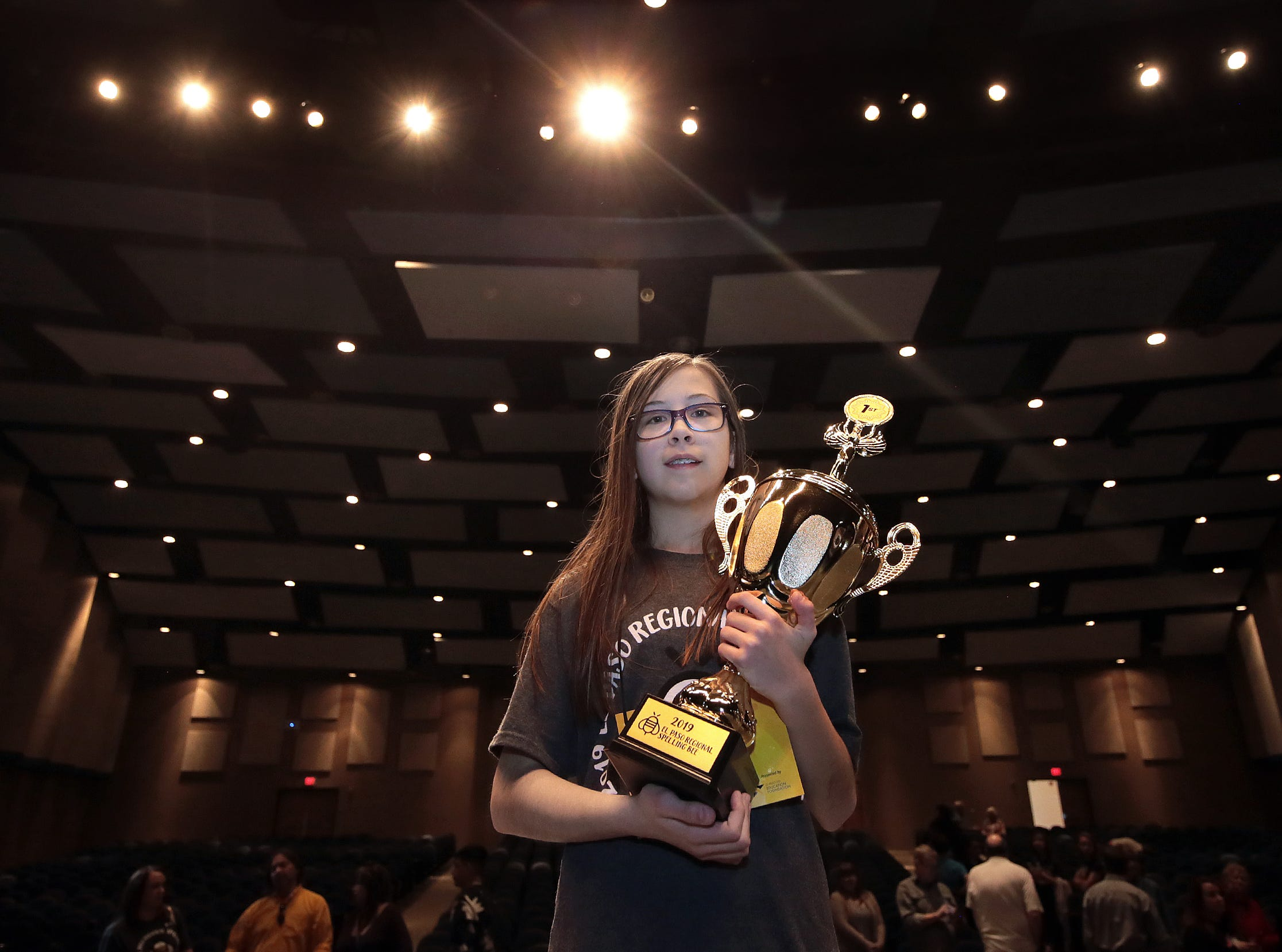 Lincoln Middle School's Penelope Moore, 13, won the 2019 El Paso Regional Spelling Bee earning a trip to compete at nationals in Washington D.C. 158 students from the region vied for the trophy.