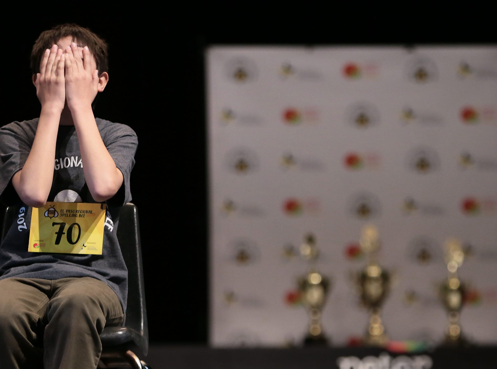 Third place finisher Ian Austin reacts to the pressure with only three spellers remaining in the 2019 El Paso Regional Spelling Bee.