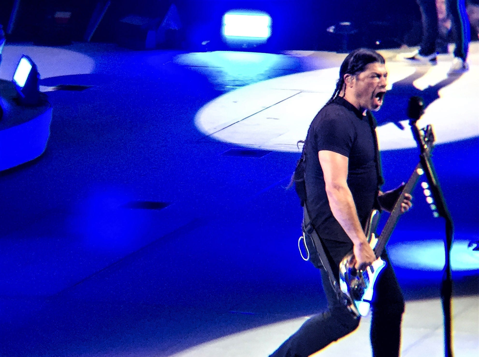 Robert Trujillo plays bass at the Metallica concert Thursday, Feb. 28, 2019, at the Don Haskins Center.