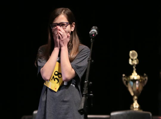 "Penelope Moore from Lincoln Middle School reacts after spelling ""geniture"" correctly to win the 2019 El Paso Regional Spelling Bee."