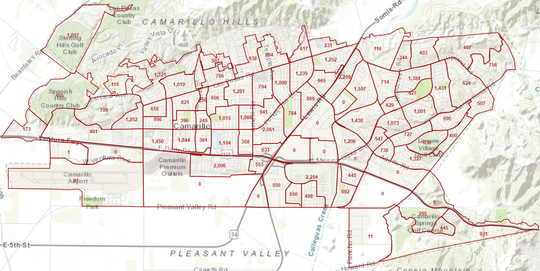 A map of Camarillo population blocs using 2010 census data to be divided into voting districts for the 2020 election.