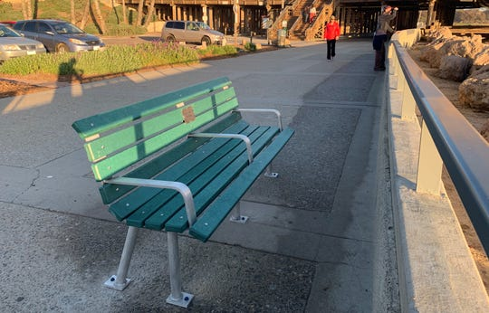 This bench in Ventura is made from recycled cigarette butts and has a memorial plaque for Paul Herzog, Surfrider's Ocean Friendly Gardens coordinator.