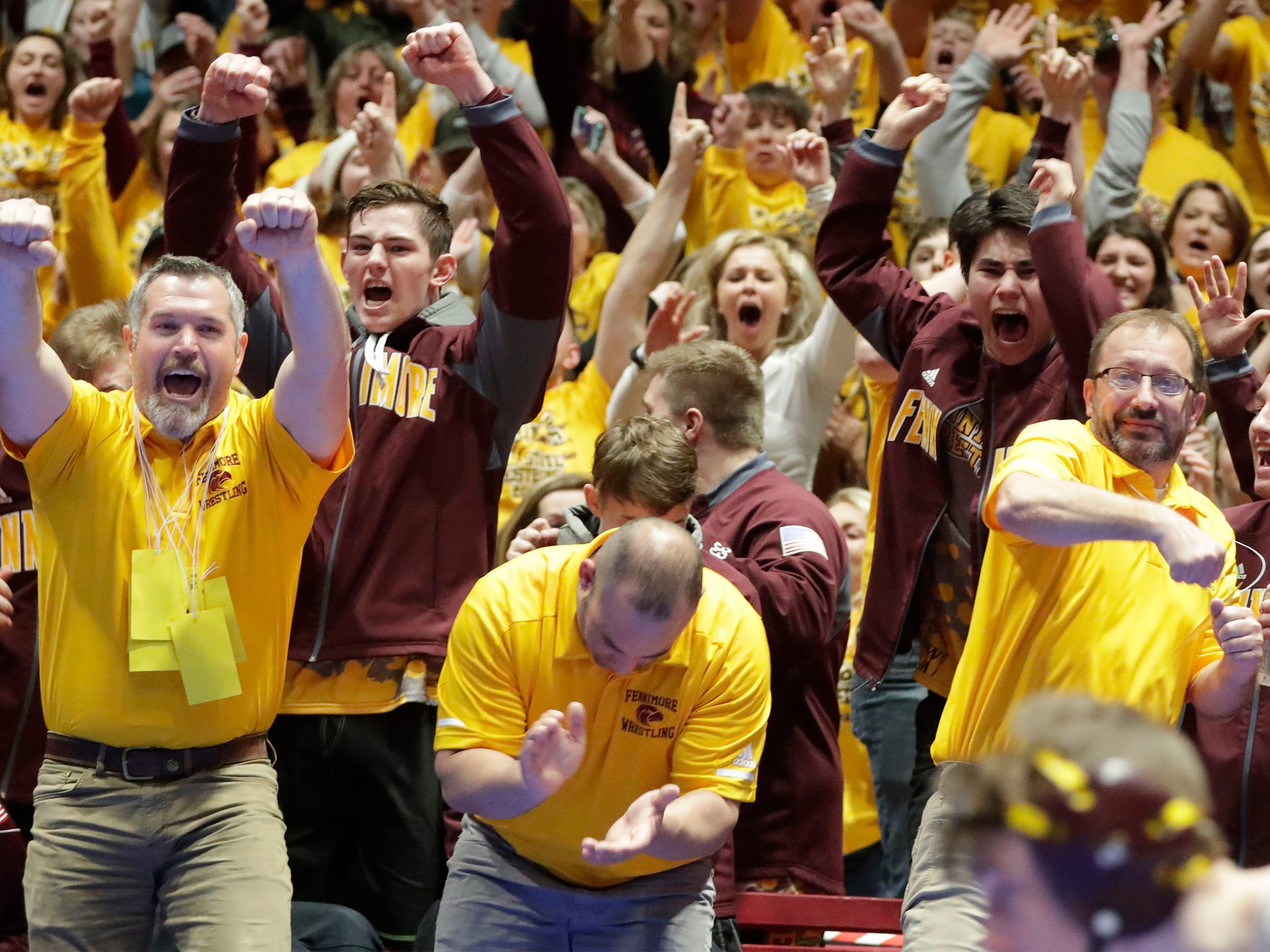 Fennimore fans cheer following their win over Stratford, Saturday, March 2, 2019, in Madison, Wis.