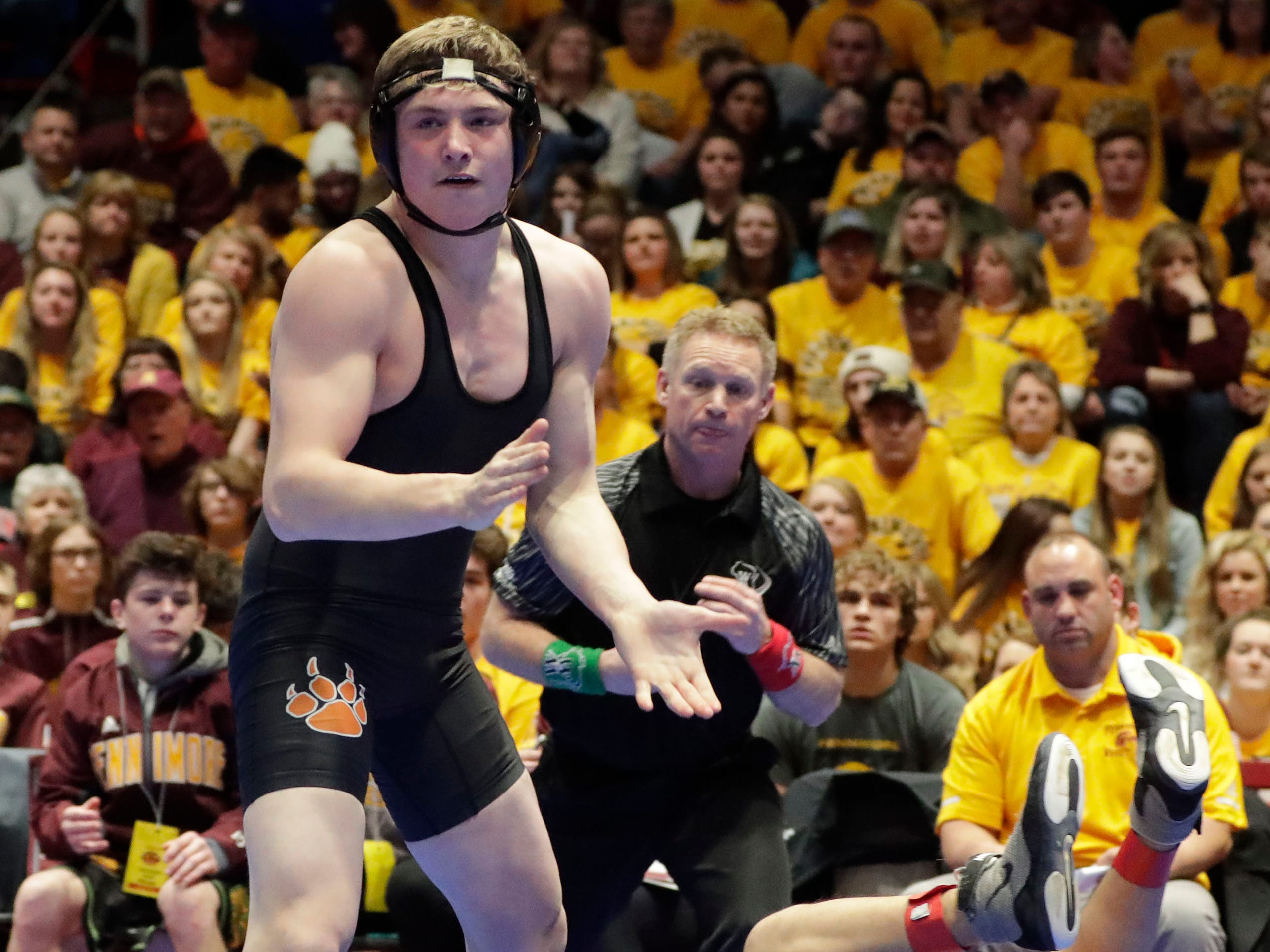Stratford's Trevor Dennee, left, reacts to beating Fennimore's Atai Berdaliev in the 170-pound class, Saturday, March 2, 2019, in Madison, Wis.