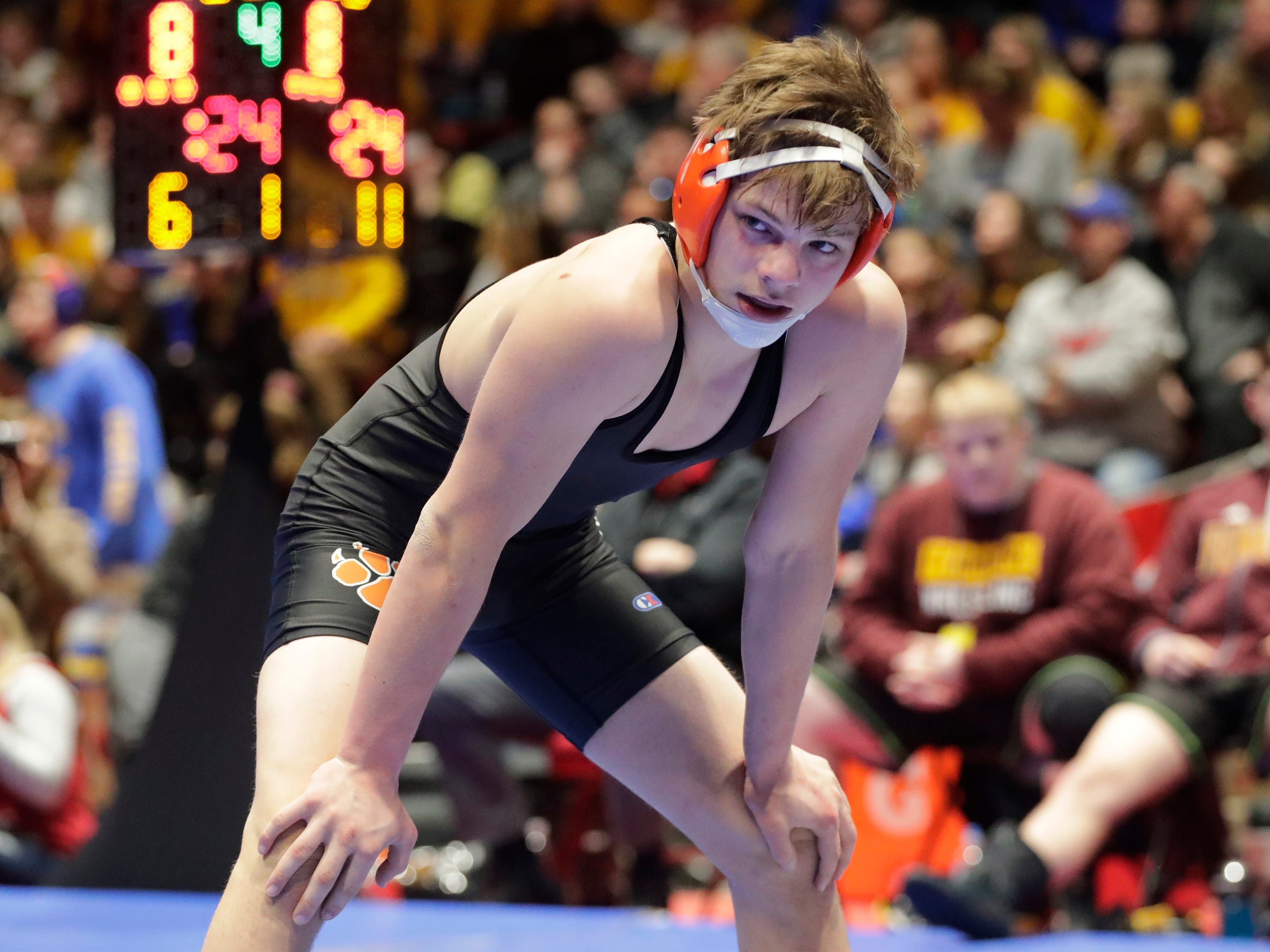 Stratford's Jacob Heiden, waits during a pause in action with Fennimore's Aiden Nutter in the 138-pound class, Saturday, March 2, 2019, in Madison, Wis.