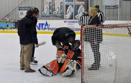 Bethlehem  goaltender Michael Kurdziolek suffered a leg injury on the initial Suffern attempt in the shootout and had to leave the game for a second time. He also left in the last minute of regulation following a collision.