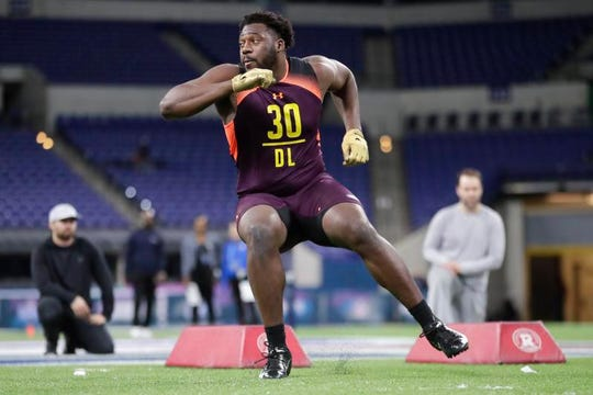 Munday's L.J. Collier competed Sunday at the NFL Combine.