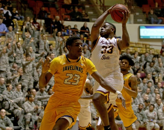 Midwestern State's Jared Evans goes for a layup in a game against Texas A&M-Kingsville Saturday, March 2, 2019, in D.L. Ligon Coliseum at MSU Texas.