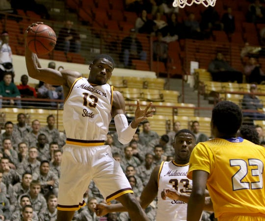 Midwestern State's D'monta Harris grabs the rebound in the game against Texas A&M-Kingsville Saturday, March 2, 2019, in D.L. Ligon Coliseum at MSU Texas.