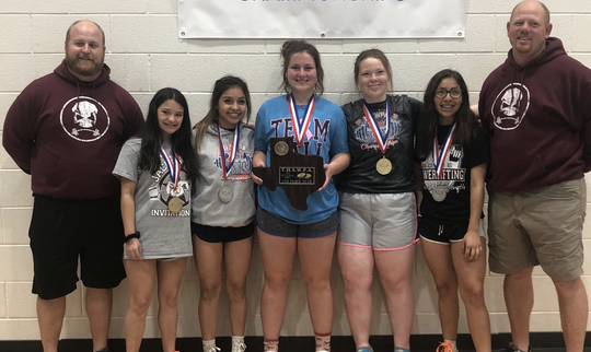 Bowie's Jessie Henry (from left to right), Sierra Skinner, Carrington Davis, Chelsea Price and Emma Skinner are headed to state after Saturday's performance.