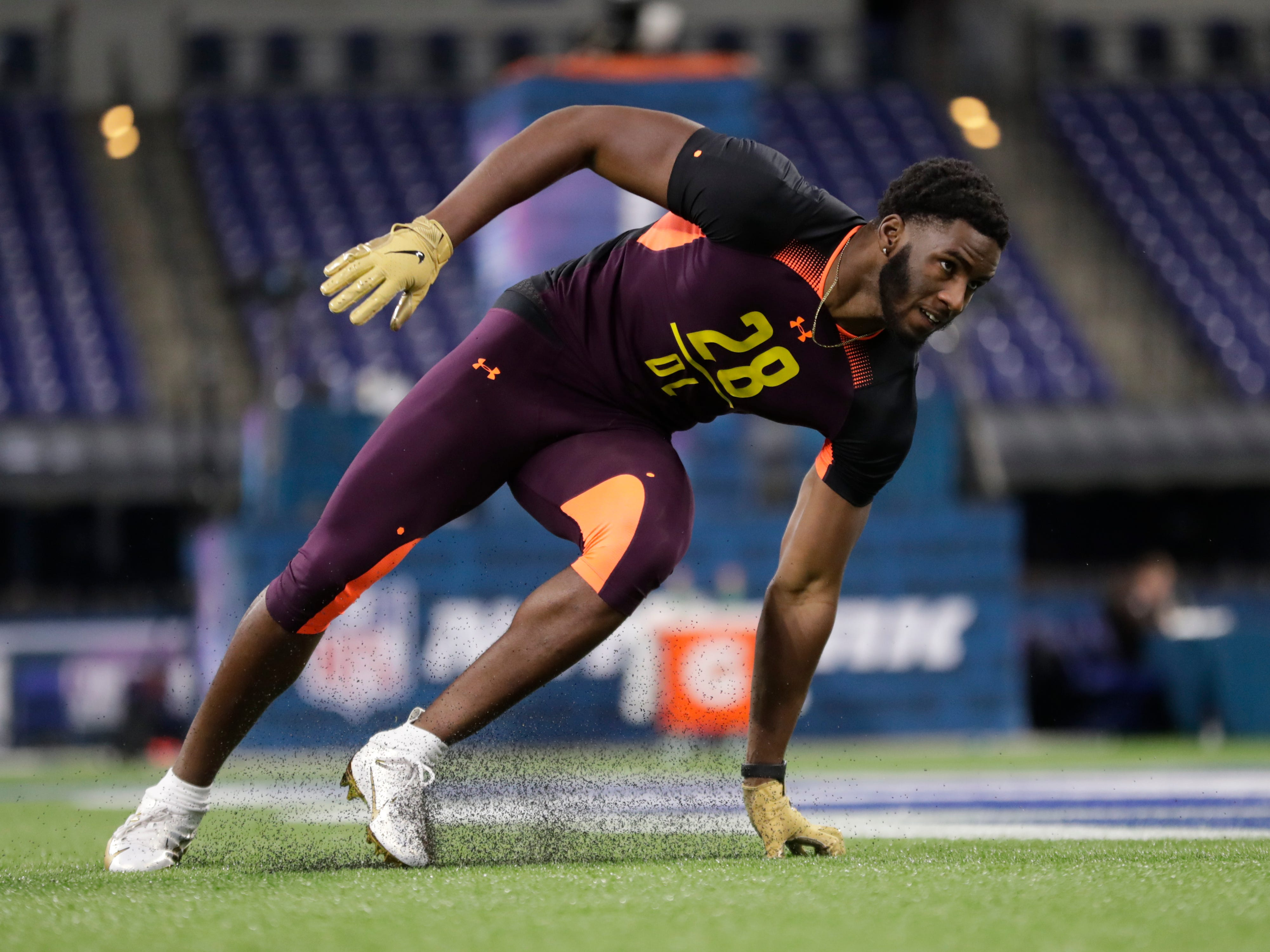 Florida State defensive lineman Brian Burns runs a drill at the NFL football scouting combine in Indianapolis, Sunday, March 3, 2019.