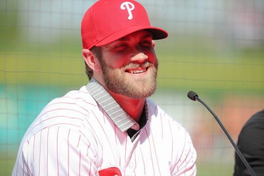 Bryce Harper fields questions from the media.