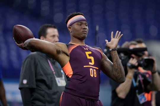 Ohio State quarterback Dwayne Haskins runs a drill at the NFL football scouting combine in Indianapolis, Saturday, March 2, 2019.