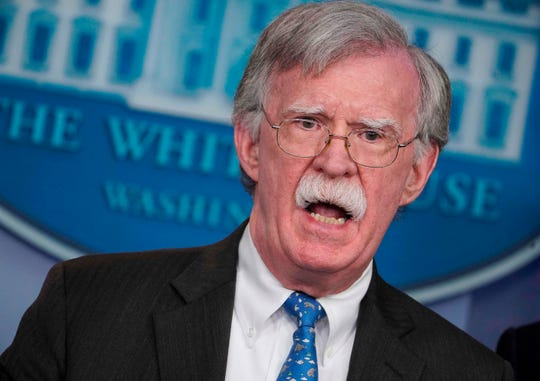 National security adviser John Bolton speaks during a news briefing in the White House on Jan. 28, 2019.