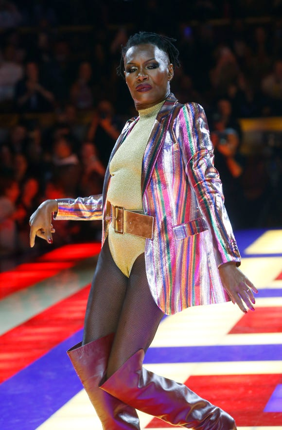 ec3fa6c4 Grace Jones models the Tommy Now ready to wear collection in Paris on  Saturday.