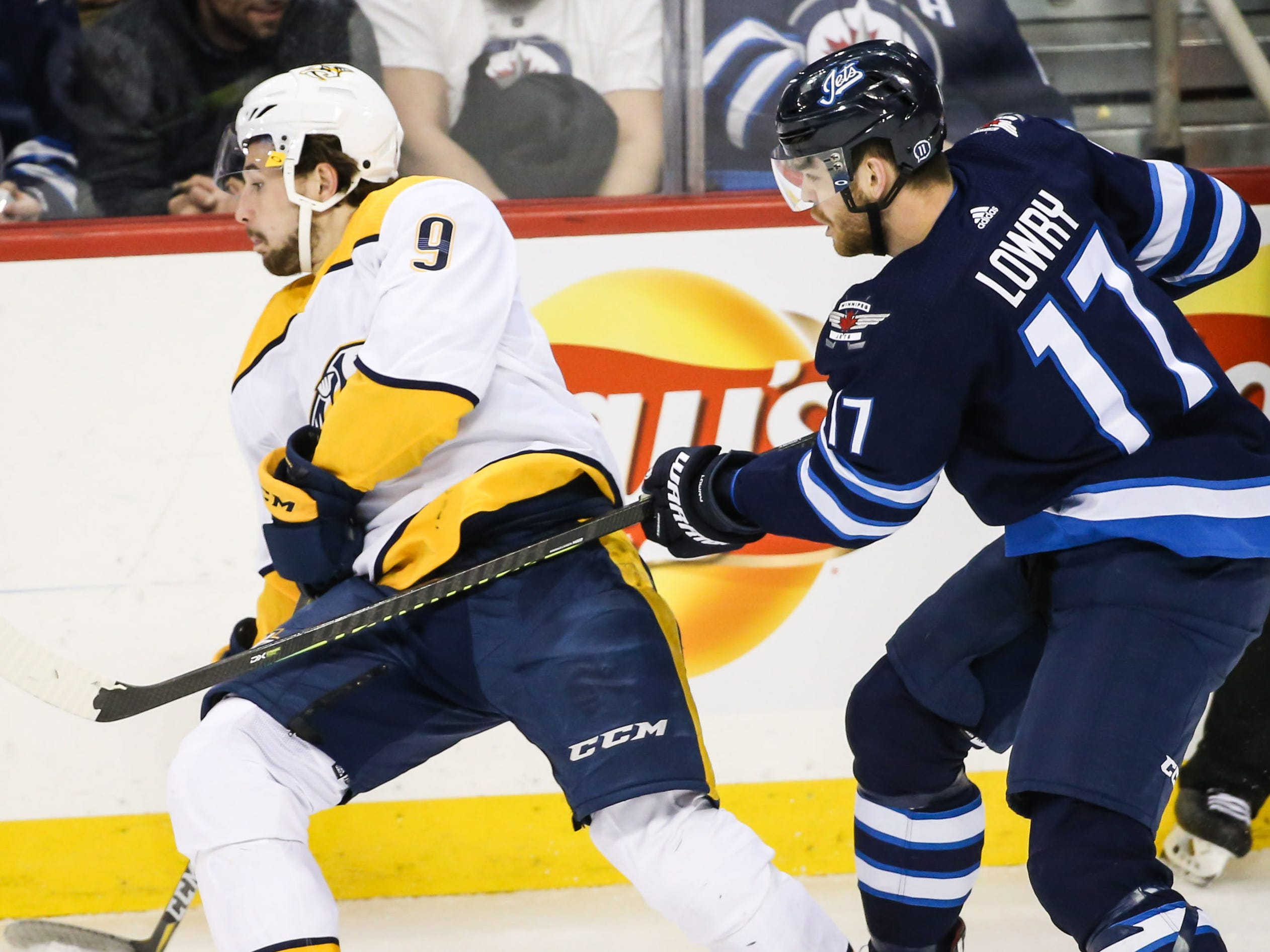 March 2: Winnipeg Jets forward Adam Lowry was suspended two games for high-sticking Nashville Predators forward Filip Forsberg. Lost pay: $31,362.00.