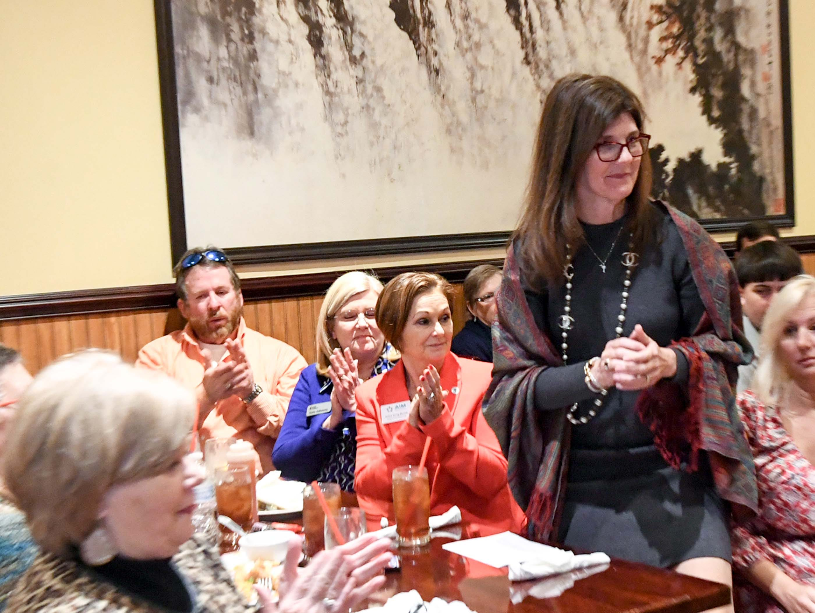 State Lt. Gov. Pamela Evette walks up to speak at the 1st Monday Club at Master's Wok in Anderson Monday.
