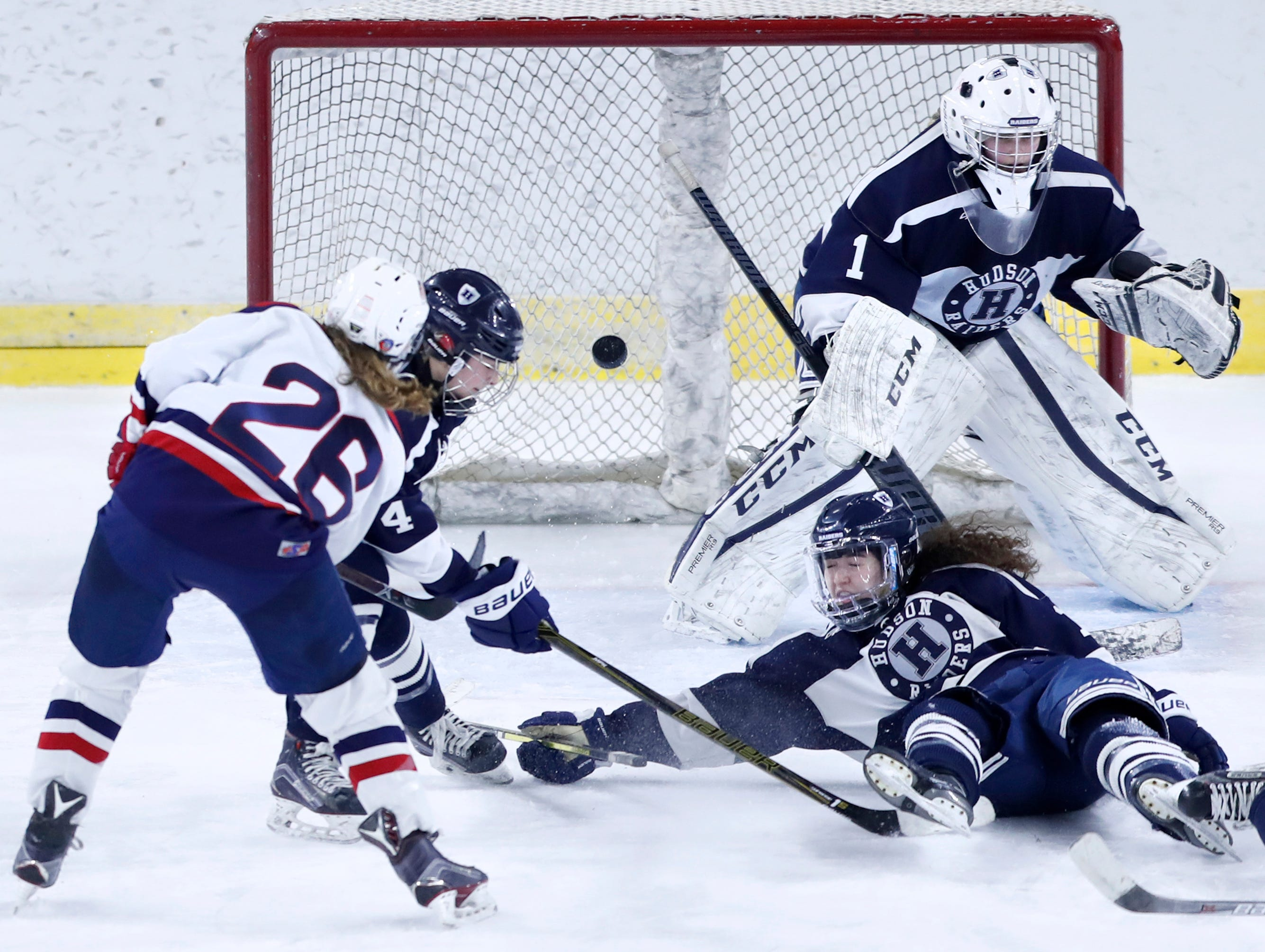 Fox Cities Stars' McKayla Zilisch sends the puck into the back of the net with 11 seconds to play in the third period sending the game into overtime against Hudson during the WIAA State Hockey Tournament championship match Saturday, March 2, 2019, at Veterans Memorial Coliseum in Madison, Wis.