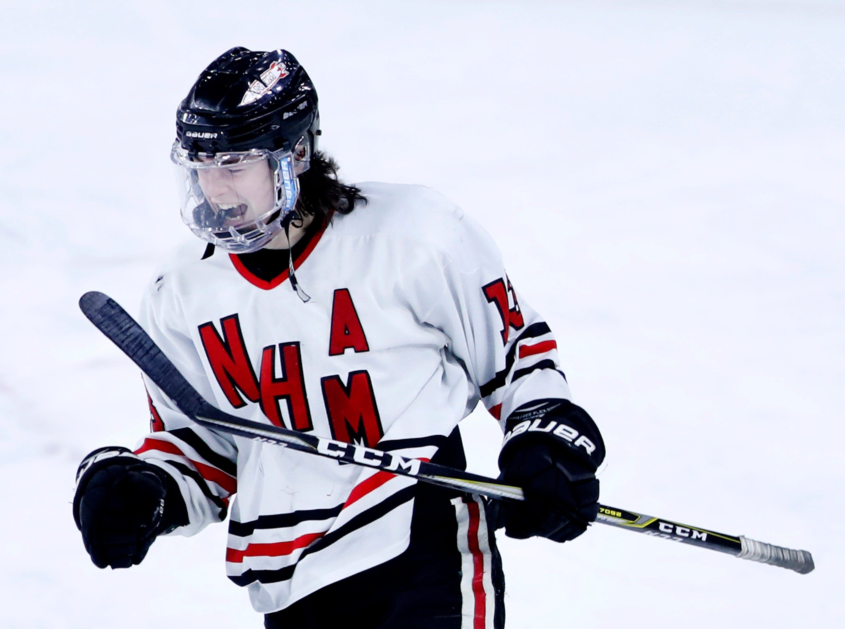 Neenah/Hortonville/Menasha's Luke Elkin celebrates after scoring on an open net to finish their WIAA State Hockey Tournament quarterfinal against Hudson 4-1 Thursday, Feb. 28, 2019, at Veterans Memorial Coliseum in Madison, Wis.
