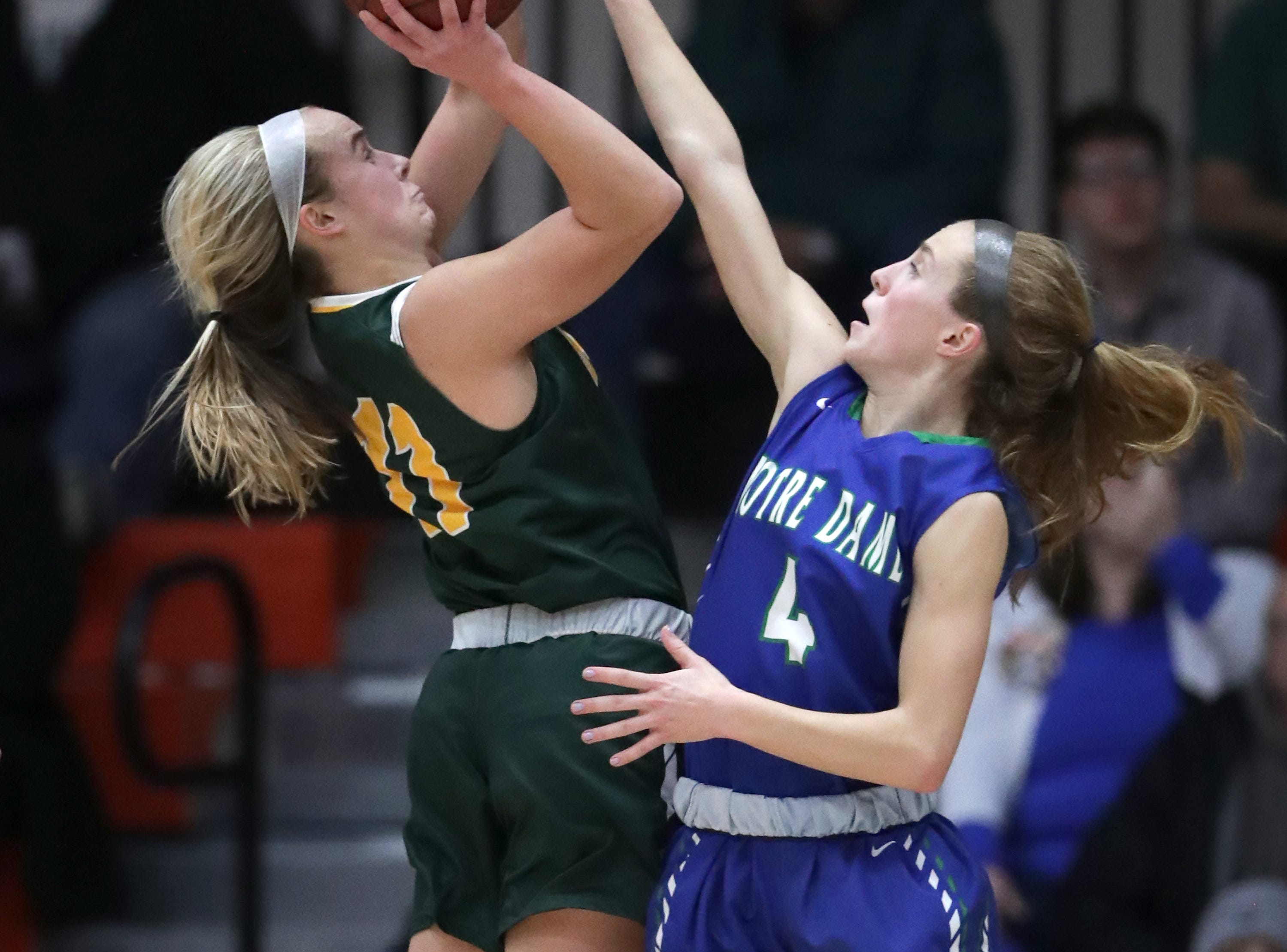 Notre Dame High School's #4 Charley Apple against Beaver Dam High School's #11 Paige Schumann during their WIAA Division 2 girls basketball sectional final on Saturday, March 2, 2019, at Kaukauna High School in Kaukauna, Wis. Beaver Dam defeated Notre Dame 68 to 40.