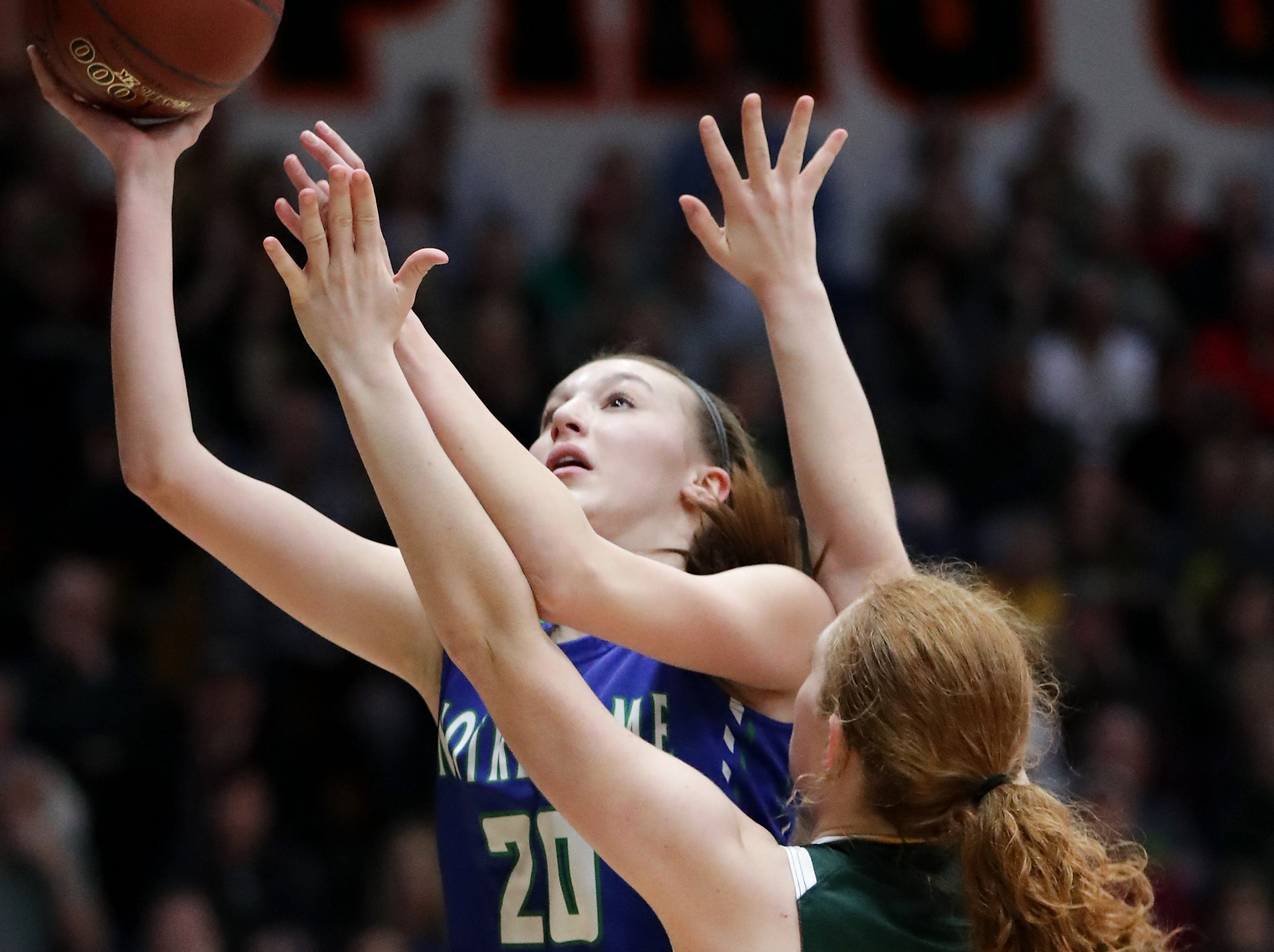 Notre Dame High School's #20 Sammy Opichka against Beaver Dam High School's #1 Natalie Jens during their WIAA Division 2 girls basketball sectional final on Saturday, March 2, 2019, at Kaukauna High School in Kaukauna, Wis. Beaver Dam defeated Notre Dame 68 to 40.