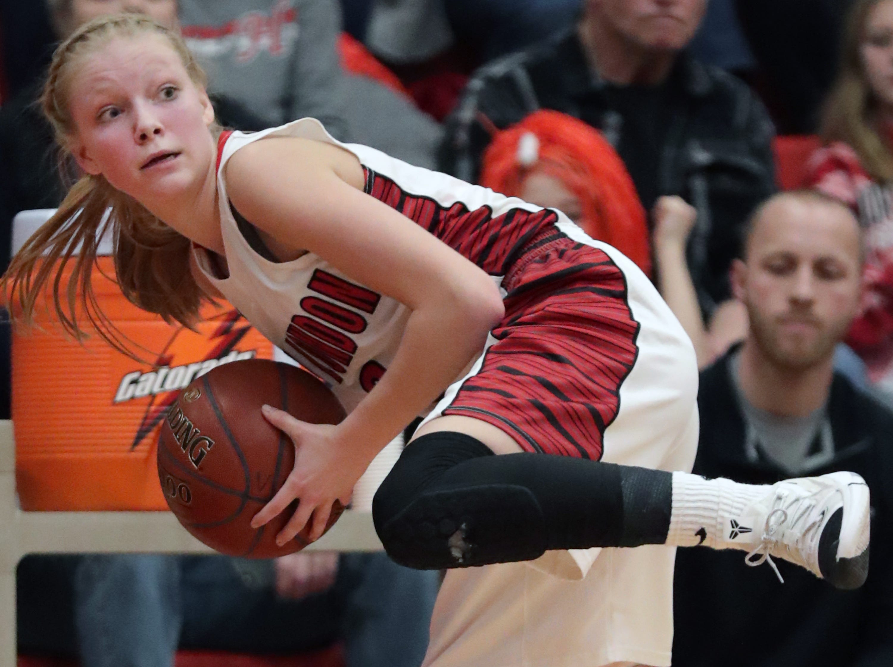 New London High School's #3 Kate Christian against Hortonville High School during their WIAA Division 2 girls basketball sectional semifinal gameThursday, February 28, 2019, at Kimberly High School in Kimberly, Wis. Hortonville defeated New London 67 to 42.