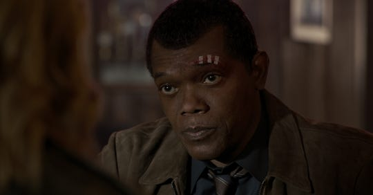 """A scene from """"Captain Marvel"""" featuring Nick Fury (Samuel L. Jackson)."""