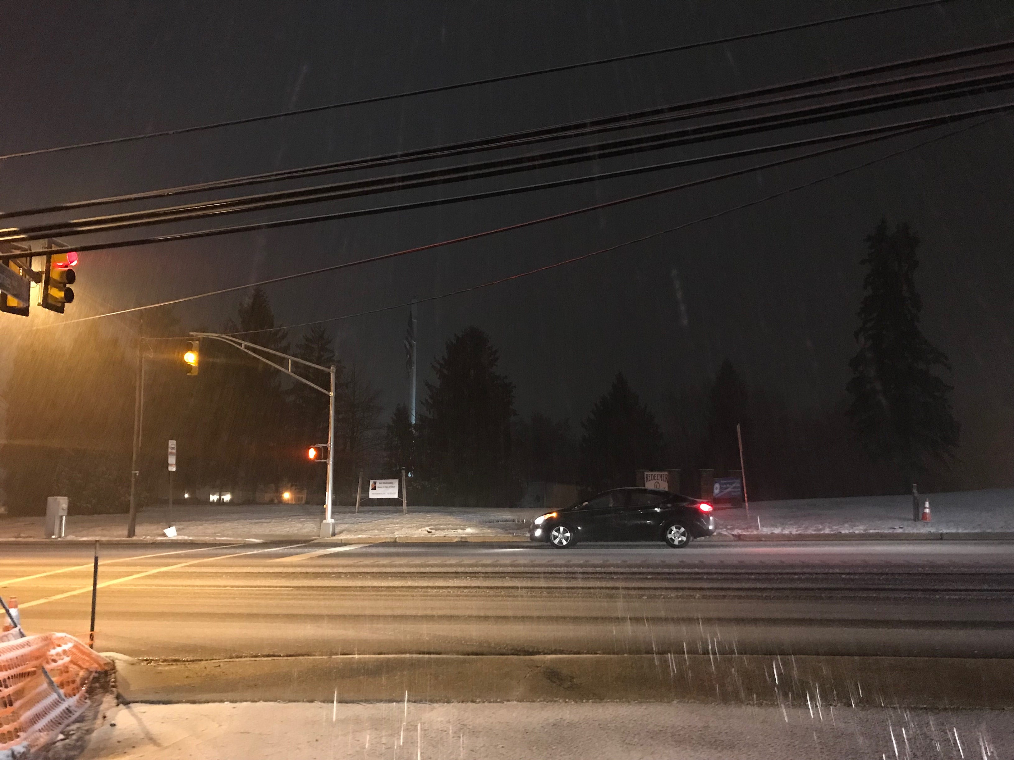 Snow falls in Neptune Sunday evening, March 3, 2019.