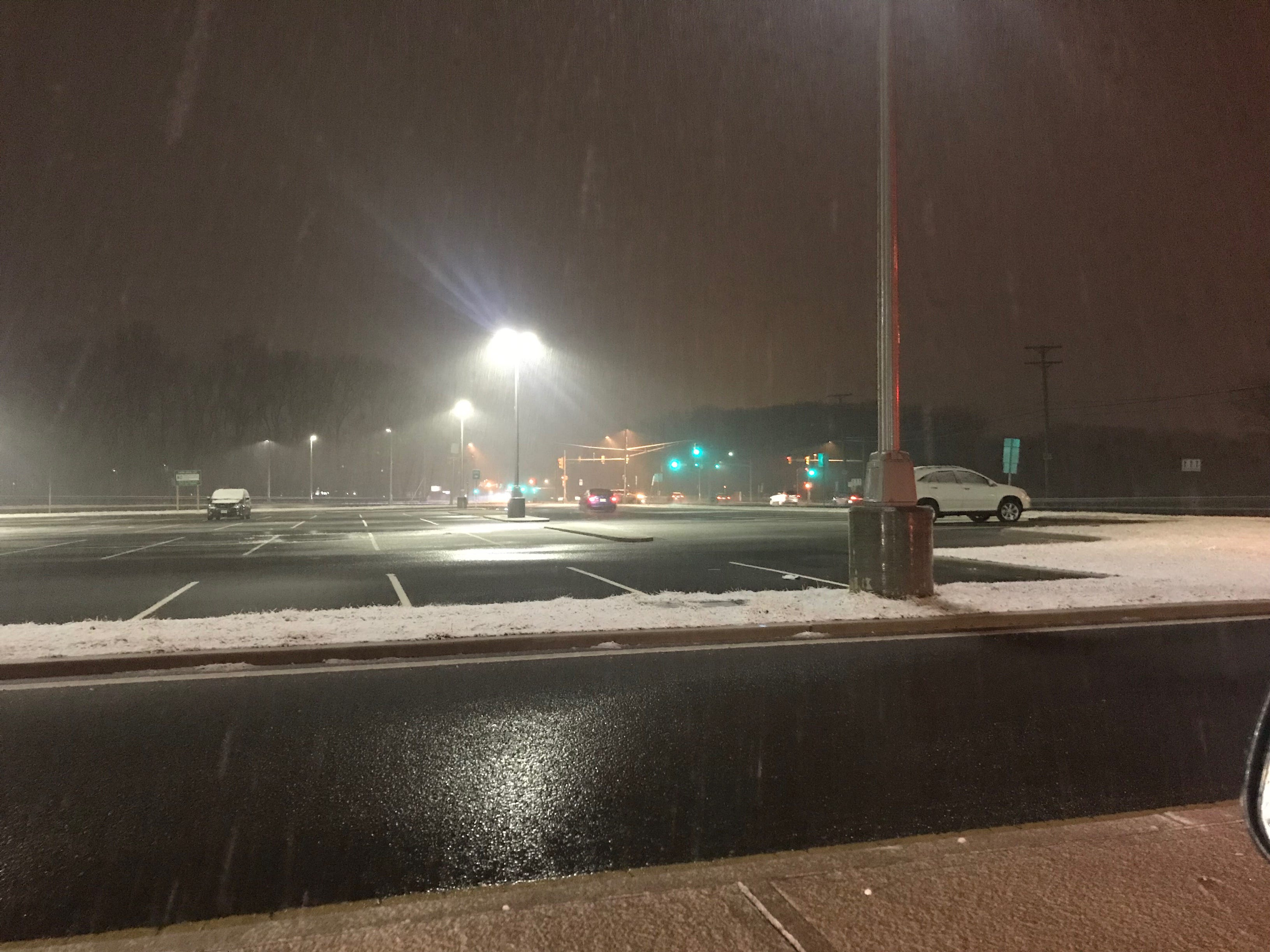 The snow starts to fall in Eatontown.