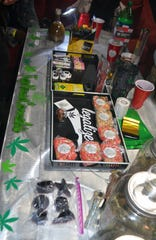 "Marijuana in various forms is displayed for sale at a black market weed ""pop-up"" event."