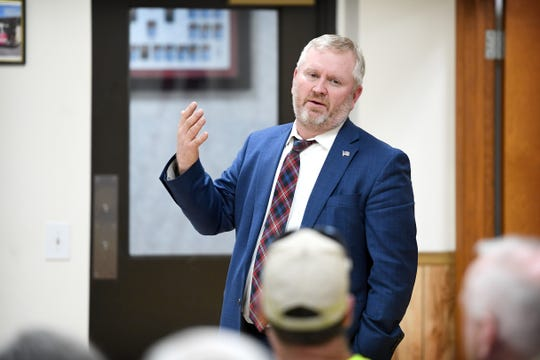 Buncombe County District Court Judge Edwin D Clontz addresses the crowd during a community meeting at the Enka Candler Fire and Rescue Department 1 on Feb. 25, 2019.