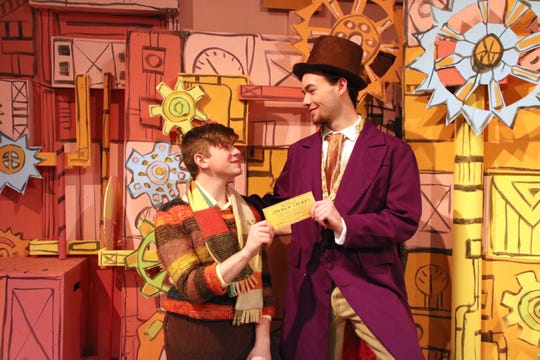 Johnson City High School students Connor Kabat (left) and Parker Howland (right) star as Charlie Bucket and Willy Wonka in the school's production of 'Willy Wonka.'