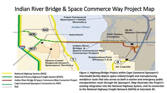 Map showing a proposed project to replace the Indian River Bridge leading to Kennedy Space Center and to widen Space Commerce Way, starting in 2021. Space Florida is seeking a U.S. Department of Transportation grant, that would require state and NASA contributions to fund the project's estimated $165 million total cost.