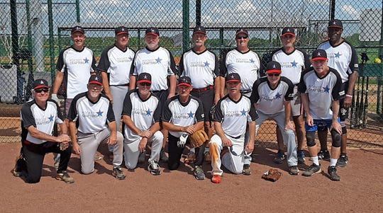 The Rocket Crafters 65 Softball team: Bottom from left:  Ernie Thibodeaux, Tom Balcom, Bob Turner, Ron Bontrager, Jim May, Rick Scott, Mike Walsh. Top from left: Roger Jubert, Larry Sample, Gary McSweeney, Terry McIlrath, Pete Carrier, Dan Deratany and Levi Wright.