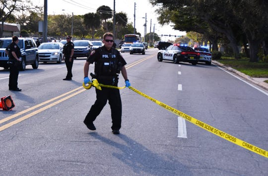 Melbourne police said two adults were shot and wounded Monday afternoon in a drive-by shooting involving two cars near Stone Middle School on University Blvd. Police believe that an occupant of one car fired multiple shots into the occupants of another vehicle just east of the school campus.