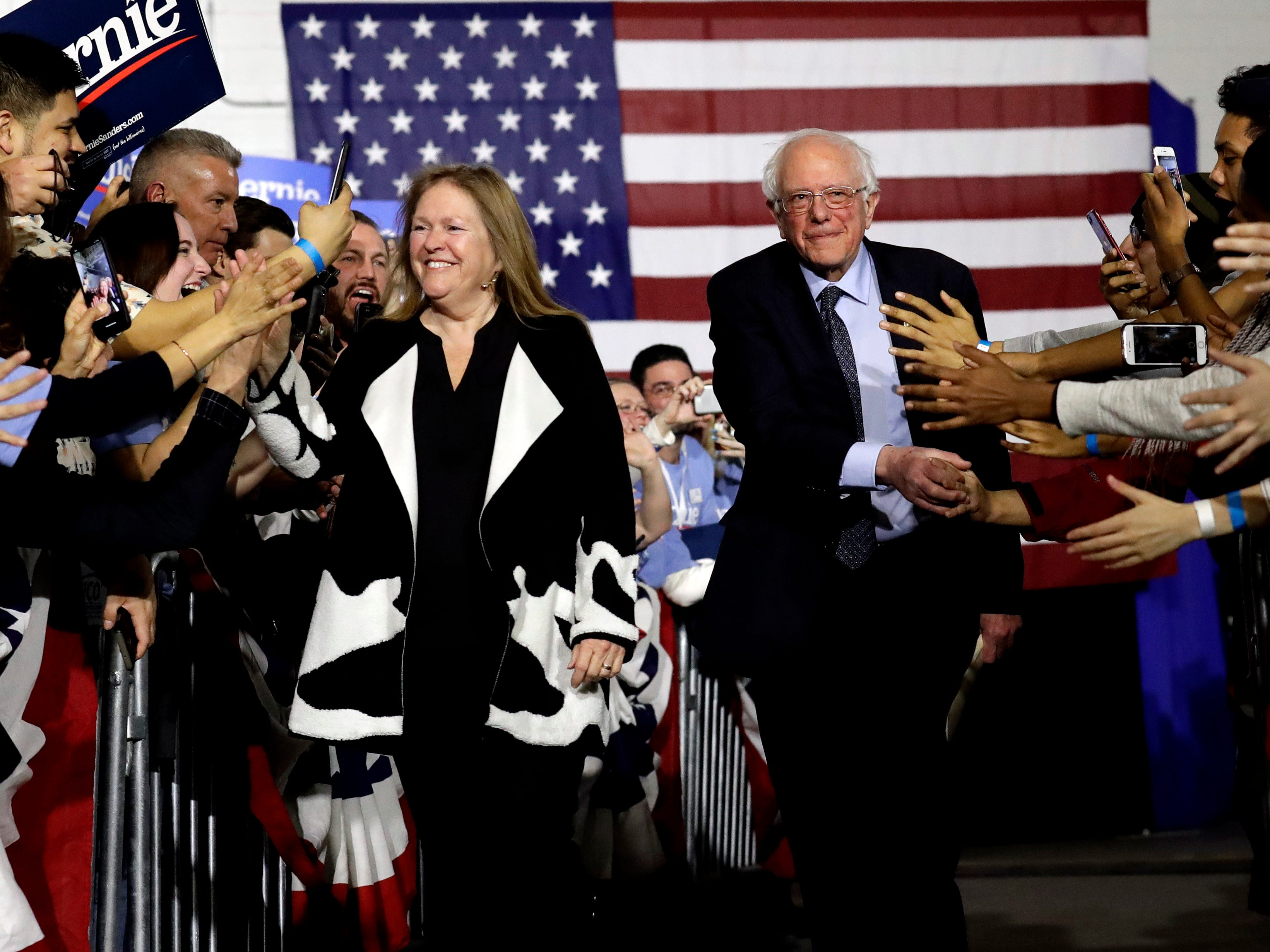 Sen. Bernie Sanders, I-Vt., right, and his wife Jane O'Meara Sanders, greet to supporters as they arrive arrive for Bernie Sanders' 2020 presidential campaign at Navy Pier in Chicago, Sunday, March 3, 2019. Over the next several weeks, Sanders will travel to Iowa, New Hampshire, South Carolina, Nevada, and California. He will then return to Burlington, Vt., for the official launch of his campaign.