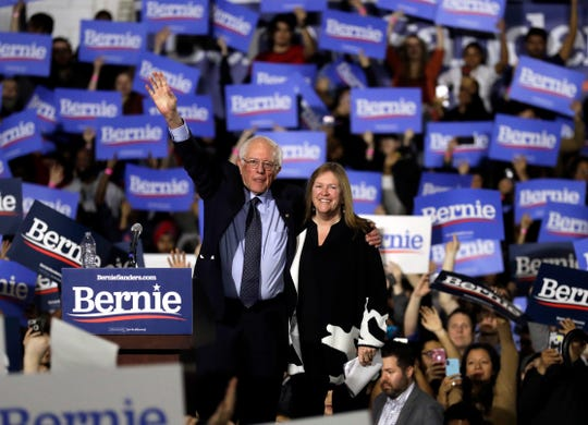Sen. Bernie Sanders, I-Vt., left, and his wife, Jane O'Meara Sanders, wave to supporters as they leave after his 2020 presidential campaign stop at Navy Pier in Chicago, Sunday, March 3, 2019. Over the next several weeks, Sanders will travel to Iowa, New Hampshire, South Carolina, Nevada, and California. He will then return to Burlington, Vt., for the official launch of his campaign.