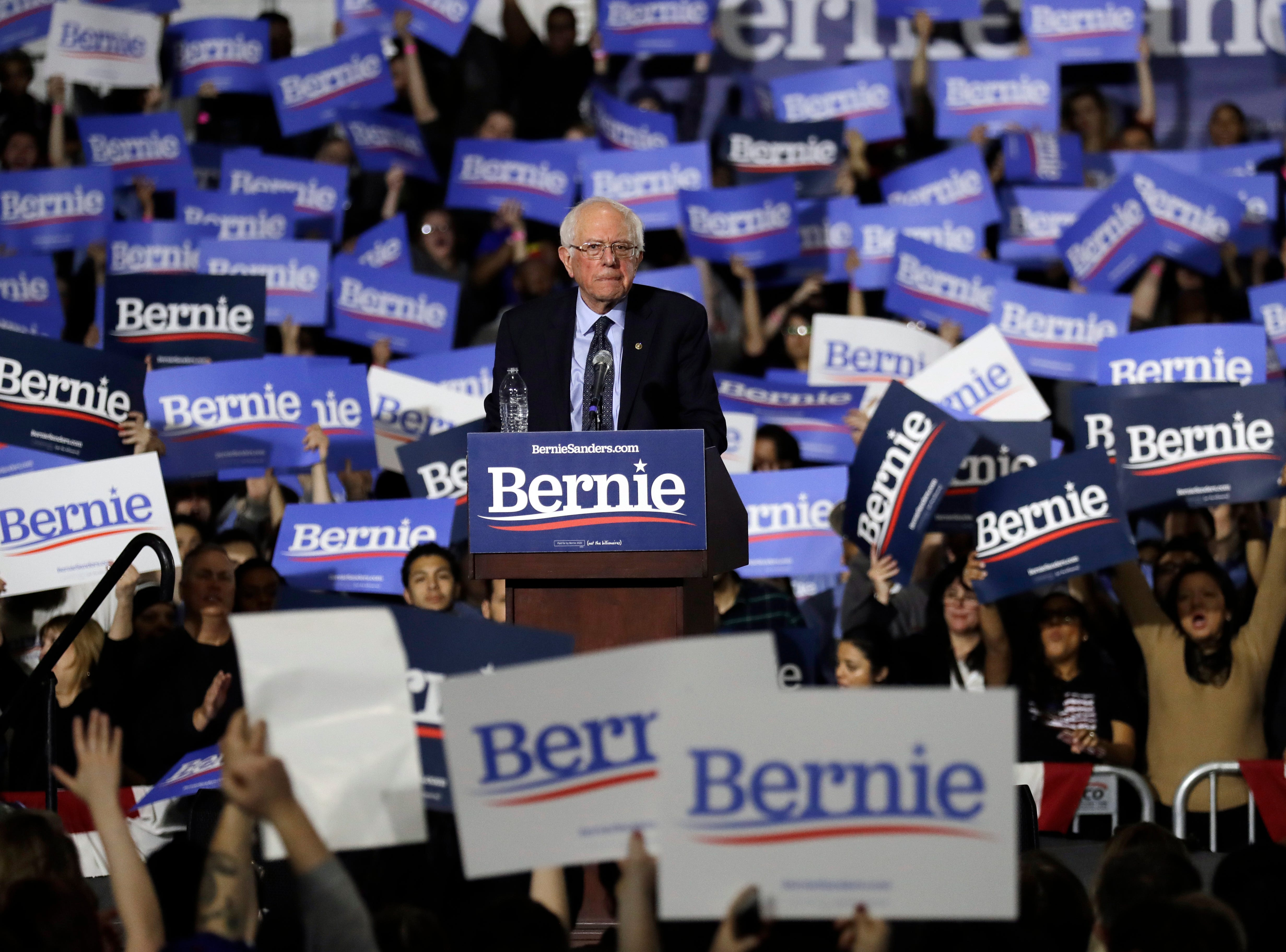 Sen. Bernie Sanders, I-Vt., looks around at his 2020 presidential campaign stop at Navy Pier in Chicago, Sunday, March 3, 2019. Over the next several weeks, Sanders will travel to Iowa, New Hampshire, South Carolina, Nevada, and California. He will then return to Burlington, Vt., for the official launch of his campaign.