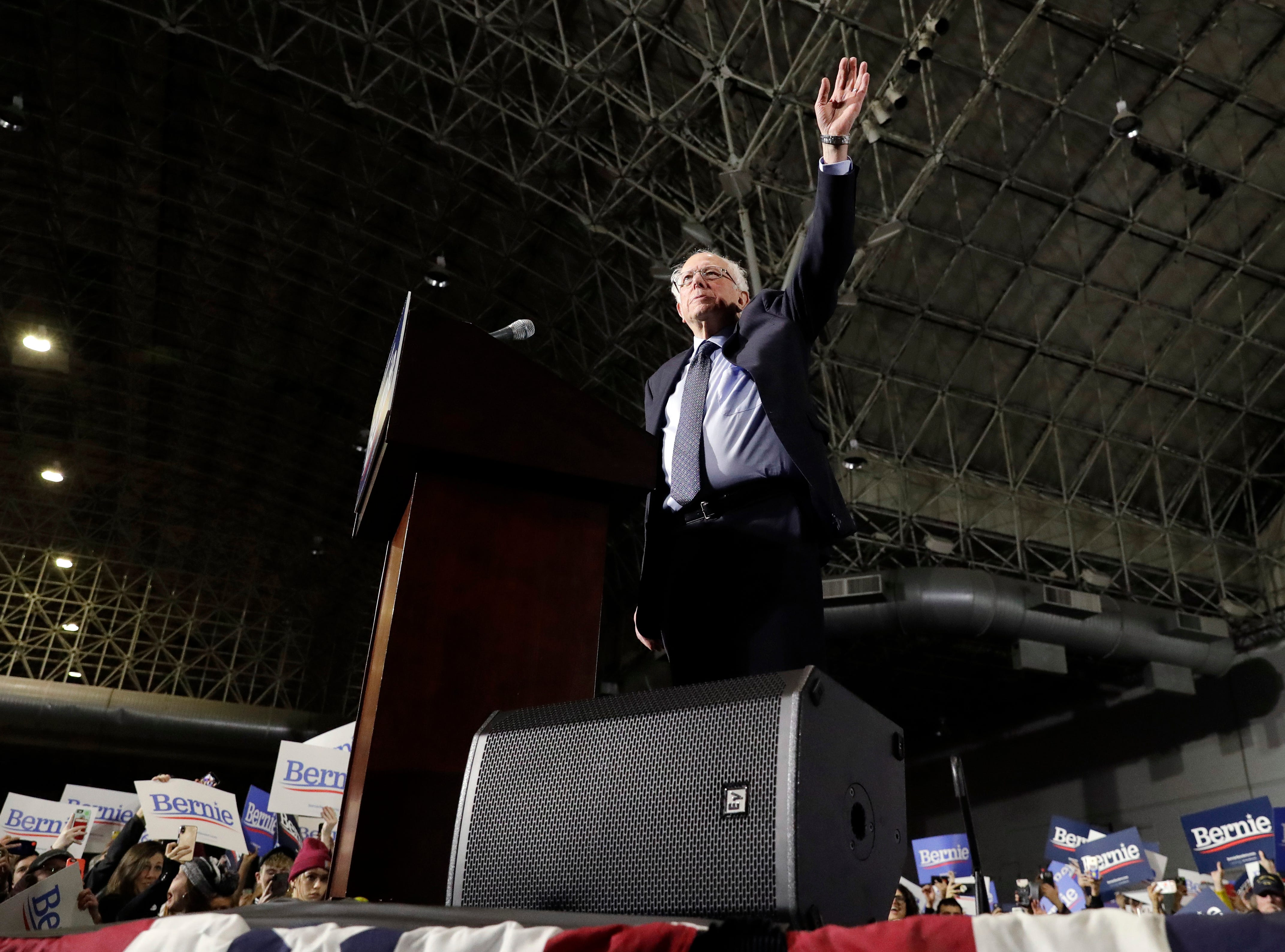 Sen. Bernie Sanders, I-Vt., waves as he arrives to the stage as he kicks off his 2020 presidential campaign at Navy Pier in Chicago, Sunday, March 3, 2019. Over the next several weeks, Sanders will travel to Iowa, New Hampshire, South Carolina, Nevada, and California. He will then return to Burlington, Vt., for the official launch of his campaign.